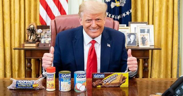 Trump Enthusiastically Poses With Goya Beans in Eerie Photo