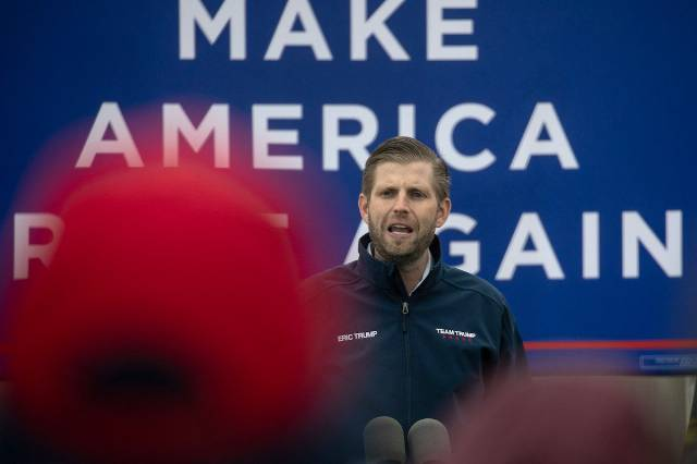 Eric Trump mocked for begging people to praise his dad on a record day for COVID deaths